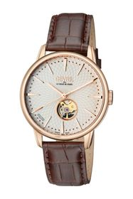 GEVRIL Men's Mulberry Swiss Automatic Embossed Lea