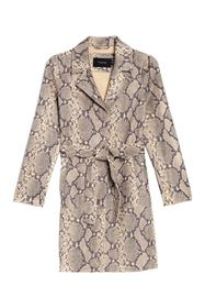 TAHARI Emmy Snake Print Faux Suede Trench Coat
