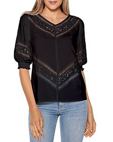 Belldini - Lace Inset Puff Sleeve Top