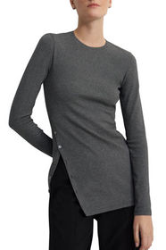 Theory Mother-of-Pearl Button Long-Sleeve Tee