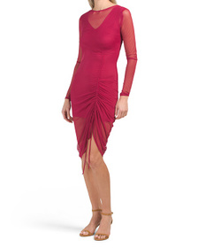 Long Sleeve Mesh Ruched Dress