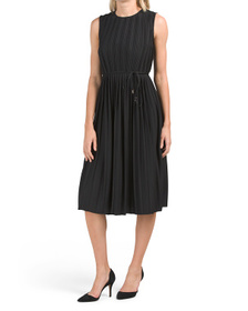 All Over Pleated Dress With Tie Waist Detail
