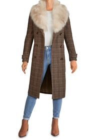 KENNETH COLE NEW YORK Plaid Long Coat with Removab