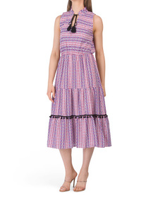 Made In Italy Tiered Front Tie Dress