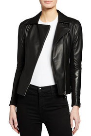 Emporio Armani Leather Jacket with Jersey Inset