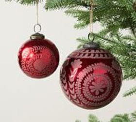 Pottery Barn Etched Mercury Glass Ornament Sets -
