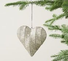 Pottery Barn Handcrafted Glass Bead Heart Ornament