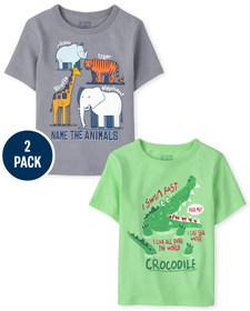 Baby And Toddler Boys Animals Graphic Tee 2-Pack