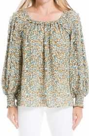 MAX STUDIO Long Sleeve Ruched Cuff Blouse