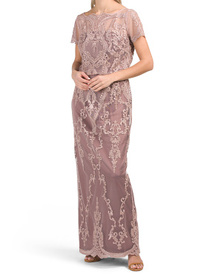 Scalloped Embroidered Blouson Gown