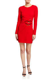 One33 Social Knotted-Cutout Long-Sleeve Short Crep