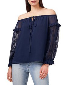 VINCE CAMUTO - Embroidered Peasant Top