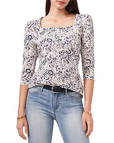VINCE CAMUTO - Snake Print Square Neck Top
