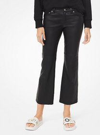 Michael Kors Izzy Leather Cropped Flared Pants