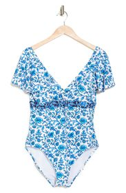 TOMMY BAHAMA Woodblock Blossoms Flutter Sleeve UPF