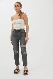 BDG High-Waisted Slim Straight Jean – Washed Black