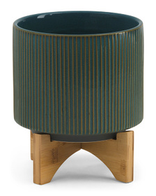 8in Ceramic Planter On Stand