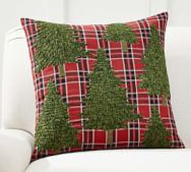Pottery Barn Forest Tree Applique Pillow Cover