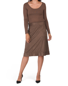 Knit Top Faux Suede Skirt Dress
