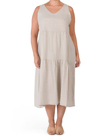 Plus Made In Italy Linen Tiered Maxi Dress
