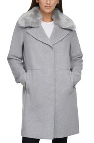 KENNETH COLE NEW YORK Wool Blend Coat with Removab