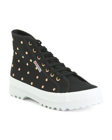 Studded Canvas High Top Sneakers