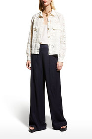 Johnny Was Sable Eyelet Cropped Linen Jacket