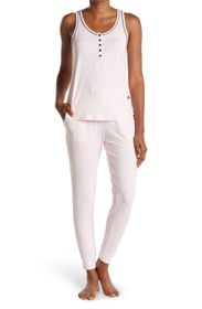 BORN Yummy Contrast Piping Tank & Joggers 2-Piece