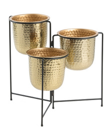 20in Metal Planter Trio On Stand