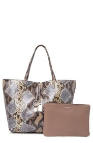 ANNE KLEIN Snake Embossed Tote Bag & Pouch Set