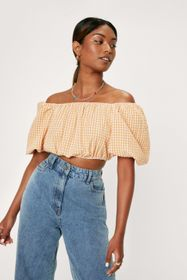 Nasty Gal Gingham Off the Shoulder Cropped Blouse
