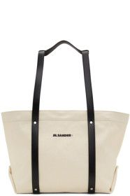 jil-sander - Off-White Small Canvas & Leather Tote
