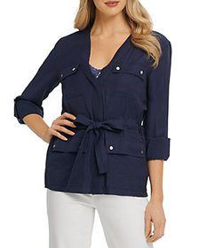DKNY - Rolled Cuff Belted Soft Jacket
