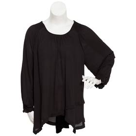 Plus Size Notations Long Sleeve Overlap Front Smoc