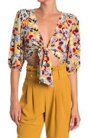 BCBGENERATION Floral Print Woven Tie Front Crop To