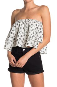 BCBGENERATION Strapless Woven Tiered Floral Print