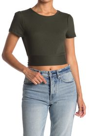 BCBGENERATION Ribbed Tie Back Crop Top