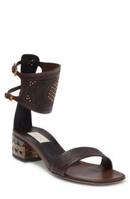 VALENTINO Embellished Leather Ankle Cuff Block Hee