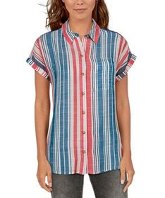 Natural Reflections Striped Woven Short-Sleeve Top