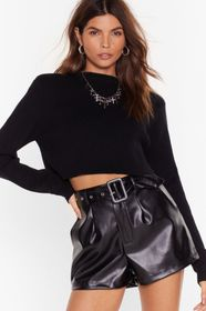 Nasty Gal Faux Leather Buckle Belted Shorts