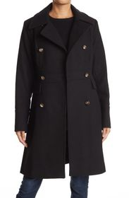 NINE WEST Military Double Breasted Wool Blend Coat