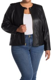 COLE HAAN Collarless Leather Jacket (Plus Size)