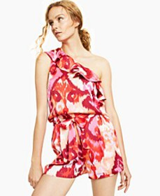 One-Shoulder Printed Ruffled Blouse, Created for M