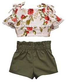 Baby Girls 2 Piece Peasant Top and Paperbag Short