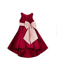 Toddler Girls Solid Satin Hi Low Dress with Contra