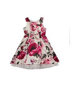 Toddler Girls Floral Printed Hi Low Dress with Mes