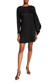 Mother of Pearl Short Dress with V-Back and Draped