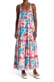 TOV Floral Sleeveless High/Low Maxi Dress