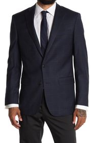 BROOKS BROTHERS Navy Check Two Button Notch Lapel