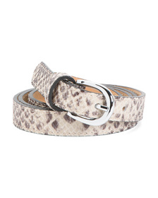 Made In Italy Leather Python Print Belt